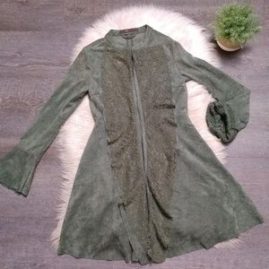 Lace lined waterfall front jacket